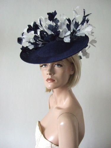 Navy White Saucer Feather Tree Hat Headpiece Fascinator Kentucky Derby Ascot Mother of the Bride